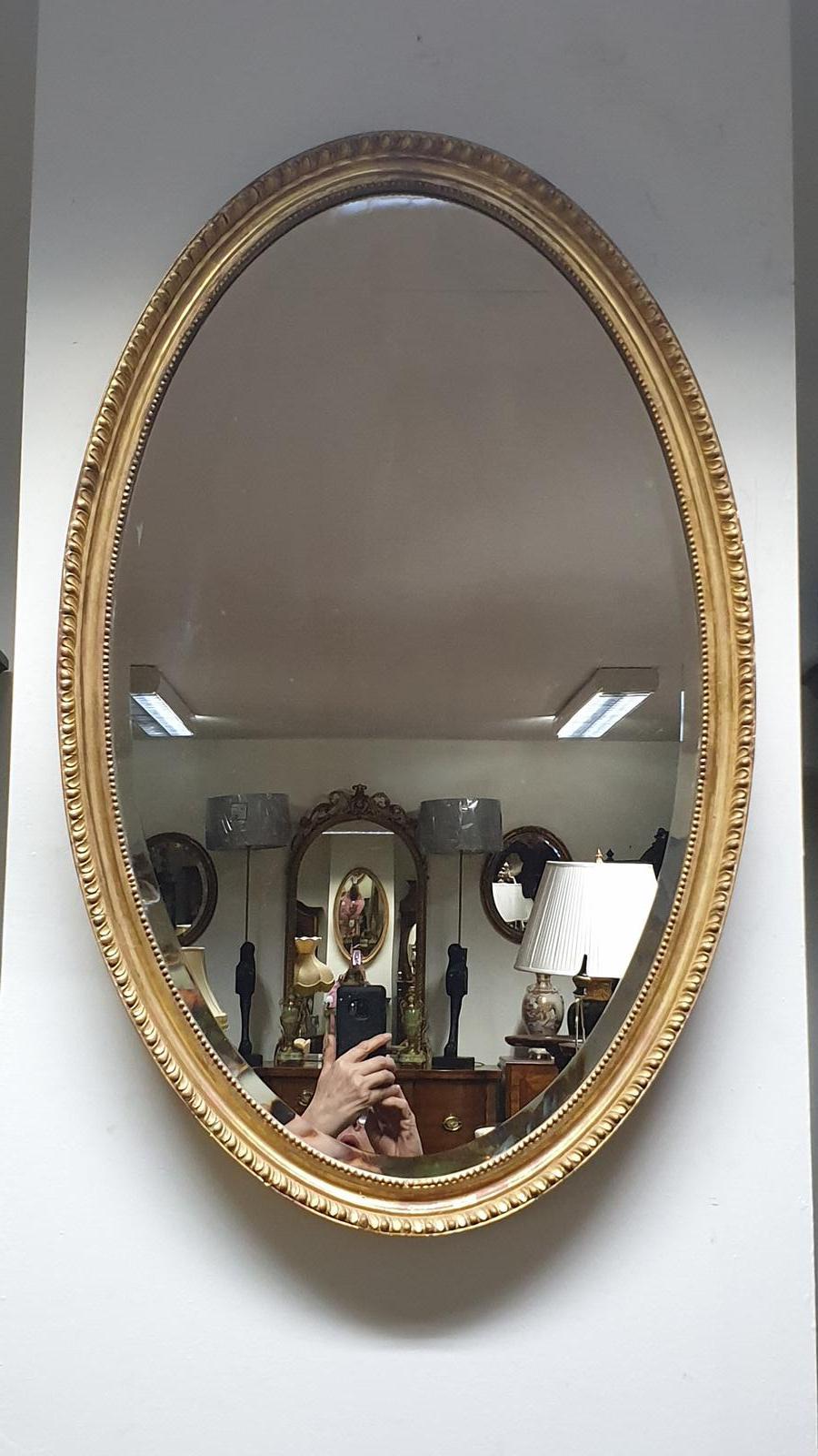 Very Nice Edwardian Oval Gilt Mirror (1 of 1)