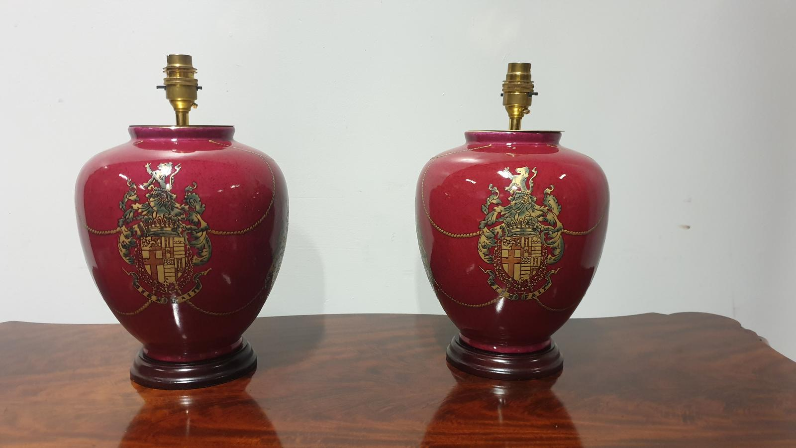 Pair of Coat of Arms Lamp Bases (1 of 1)