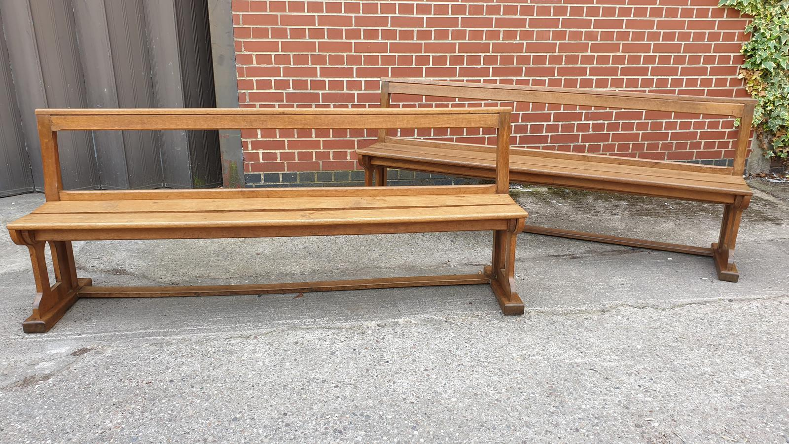 Superb Pair of Oak Benches (1 of 1)