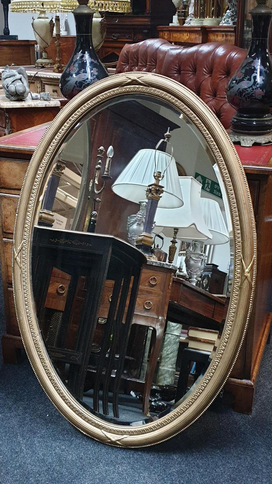 Large Edwardian Oval Gilt Wall Mirror (1 of 1)