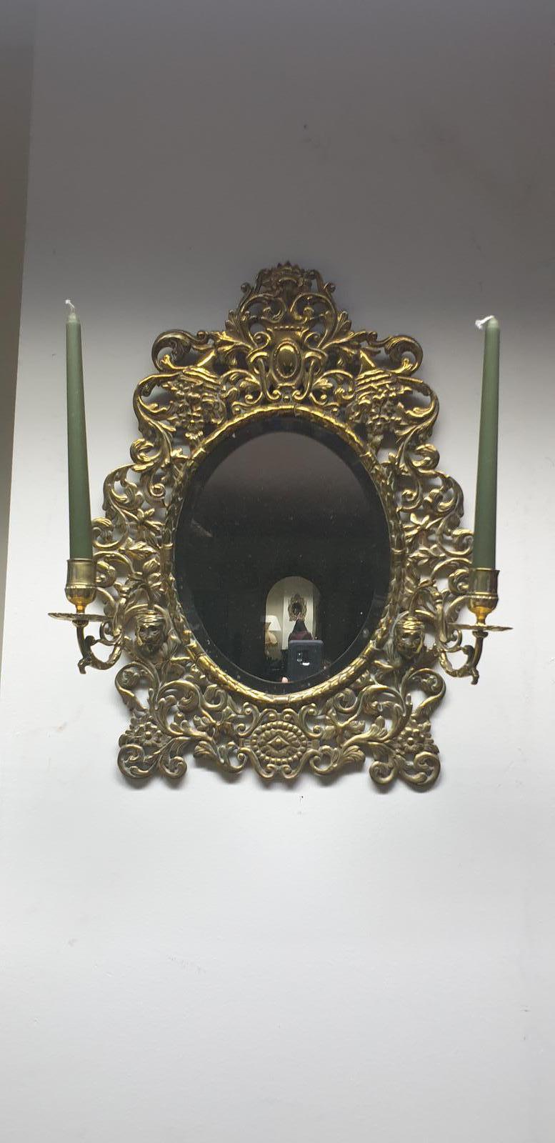 Victorian Brass Wall Mirror (1 of 1)