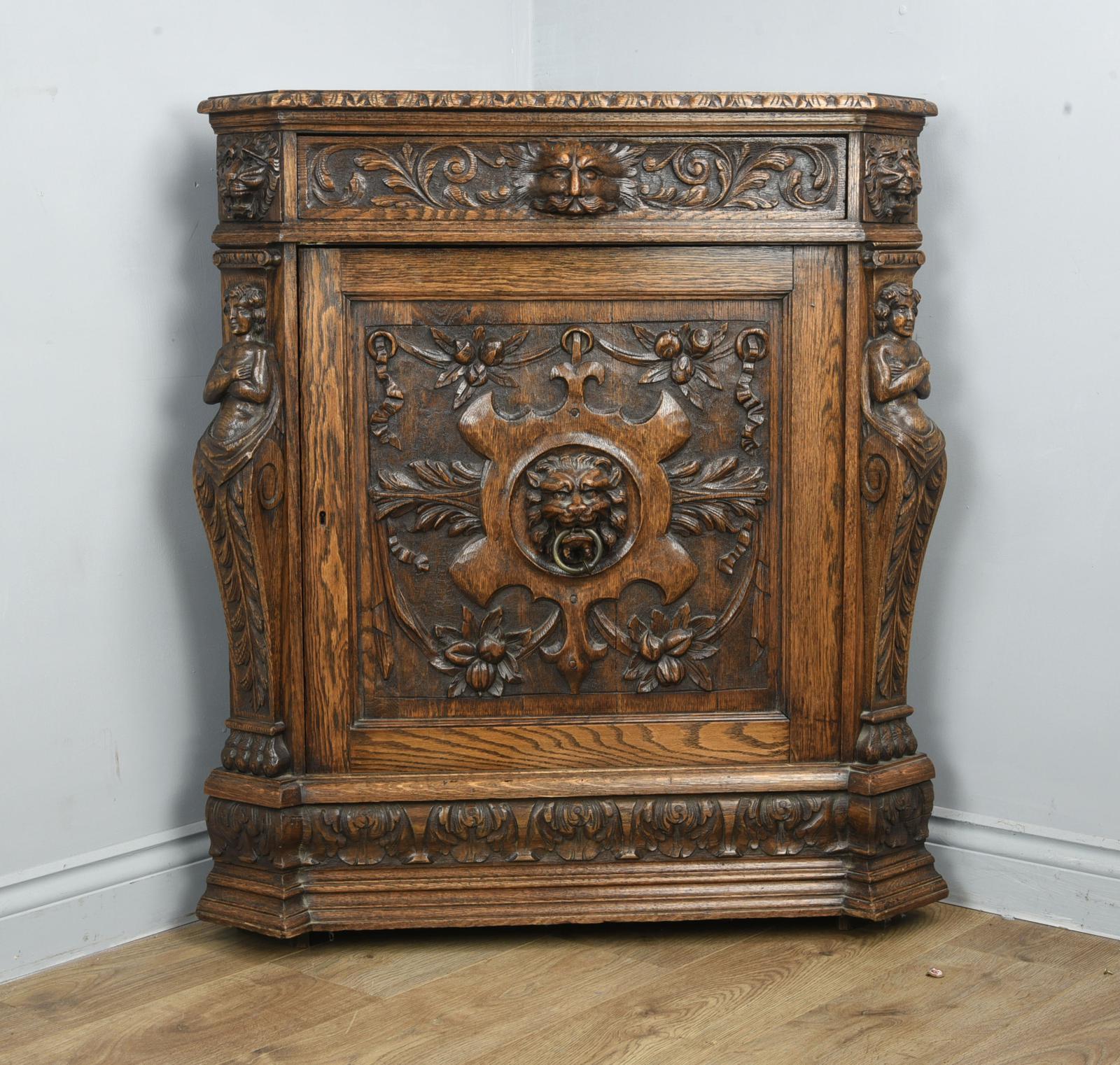 Antique Carved Oak Green Man Corner Cabinet (1 of 1)