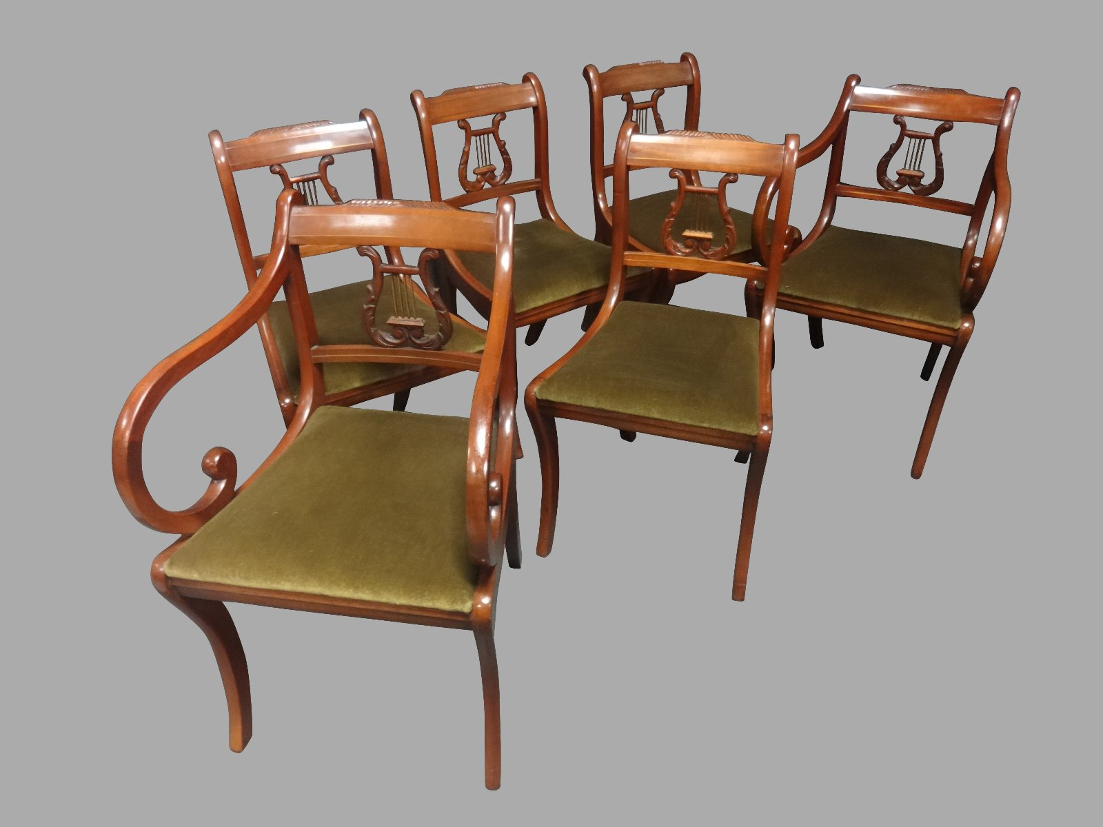 Set of Six Regency Style Mahogany Dining Chairs c.1950 (1 of 1)