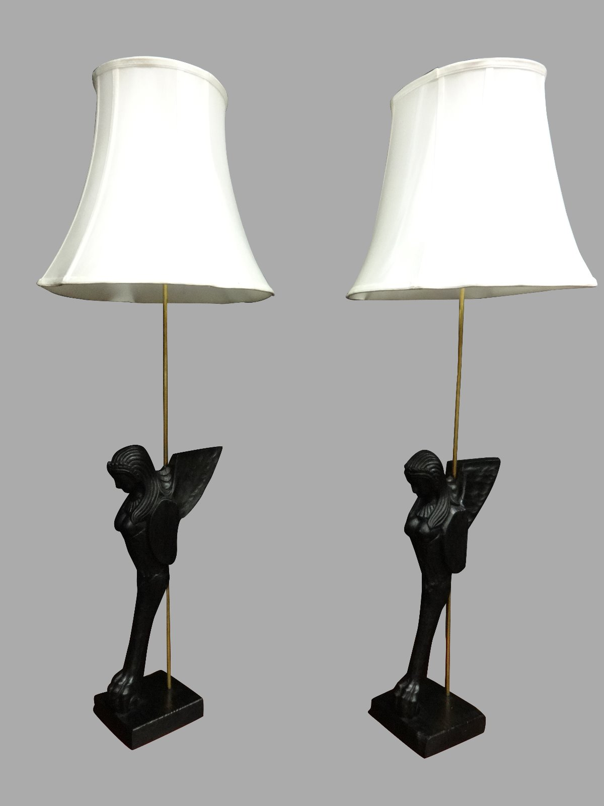 Pair of Large Ebonised Lamps (1 of 1)