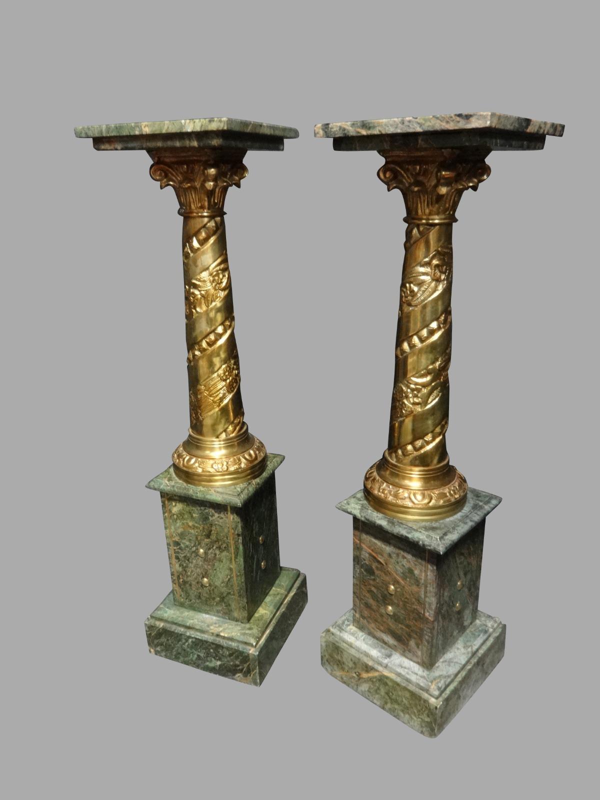 Good Pair of Green Marble & Brass Pedestals c.1920 (1 of 1)