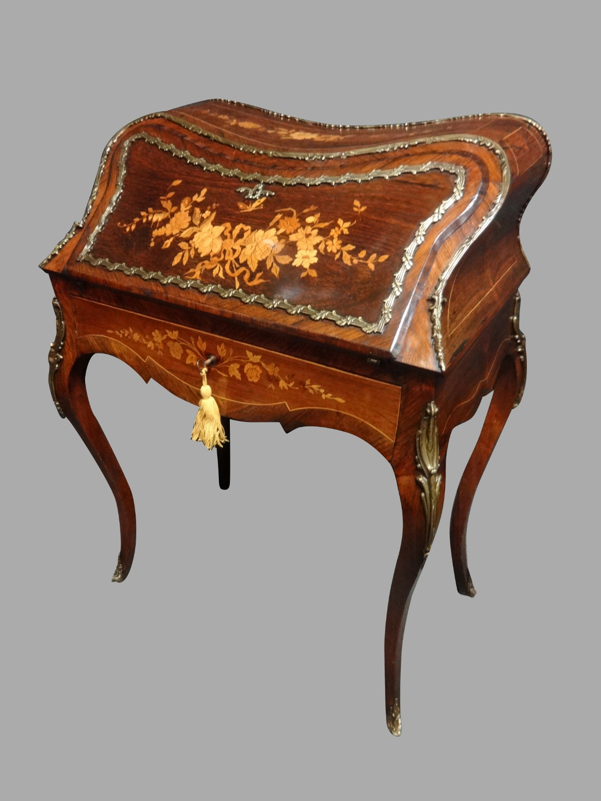 Stunning French Rosewood & Marquetry Bombe Bureau De Dame (1 of 1)