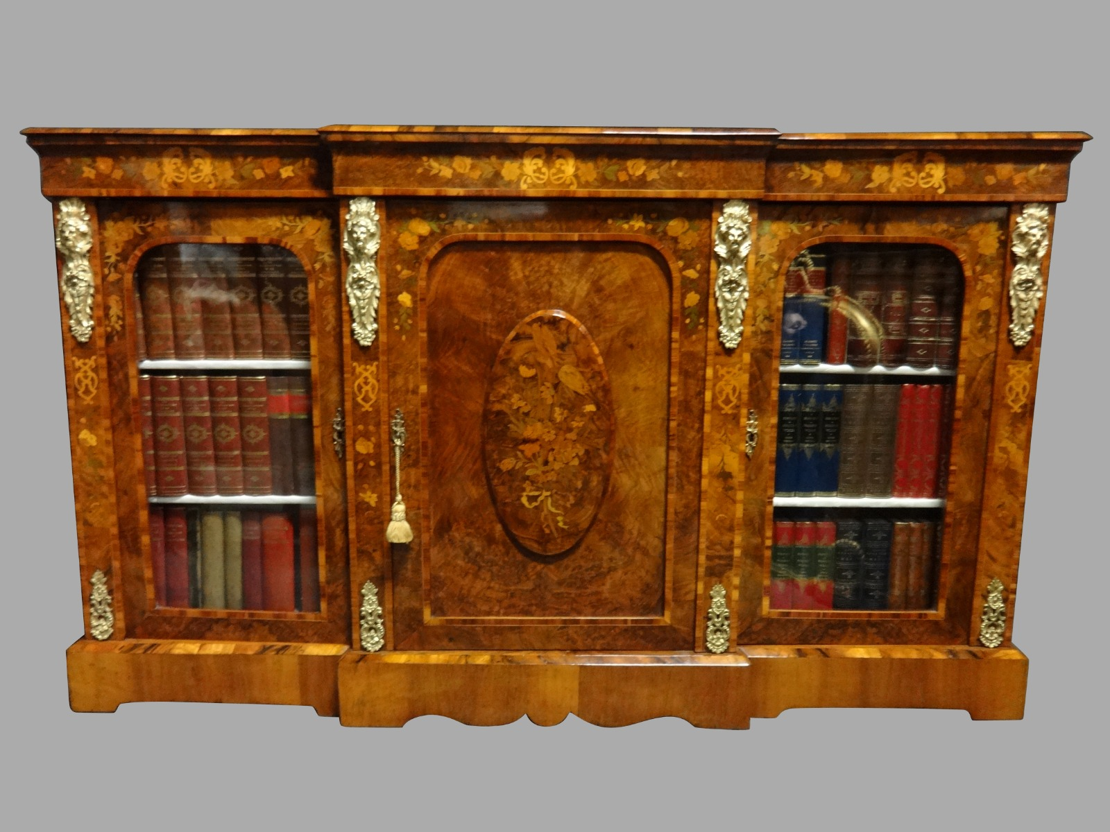 Outstanding Burr Walnut & Marquetry Bookcase/Credenza  C.1870 (1 of 1)