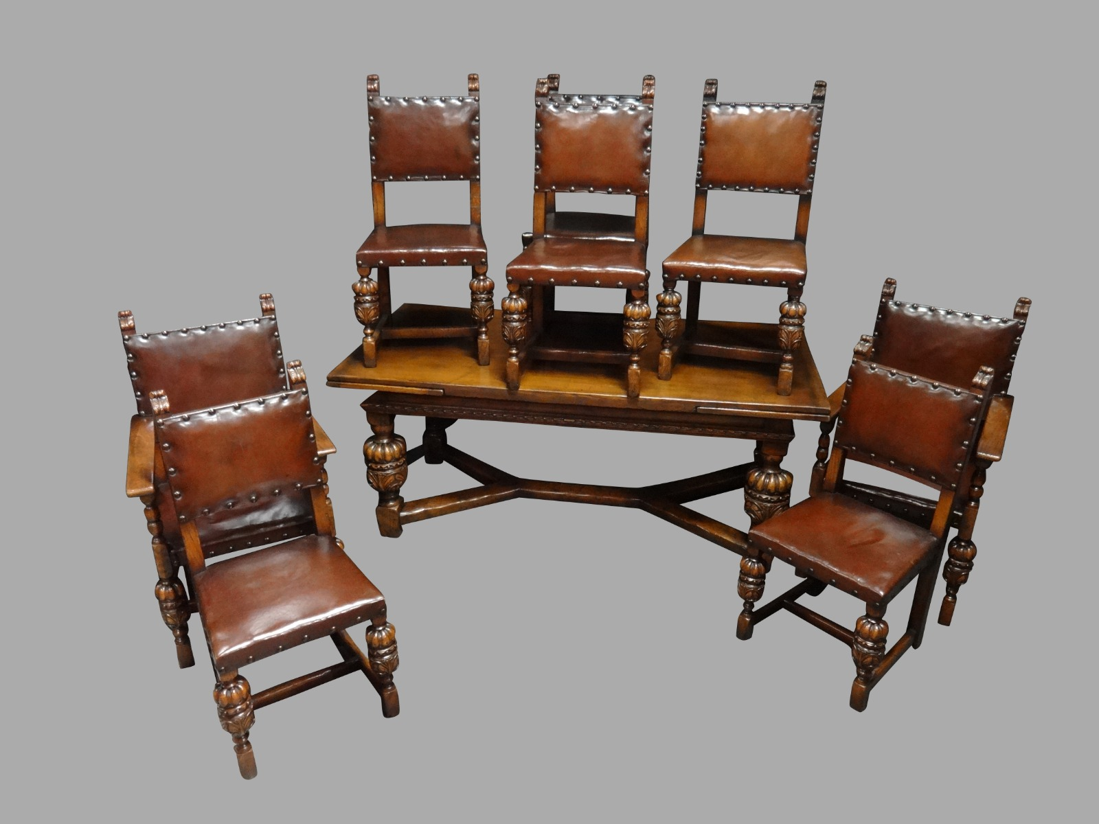 Large Oak Draw Leaf Table & Eight Hide Chairs (1 of 1)