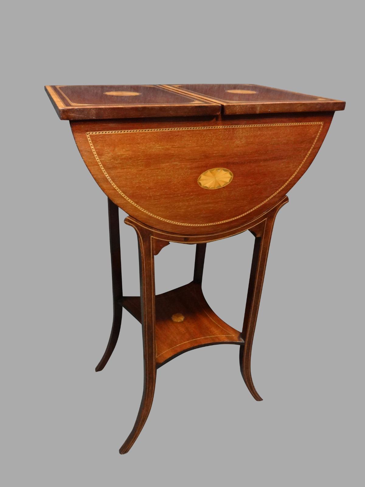 Edwardian Mahogany Inlaid Work Box (1 of 1)