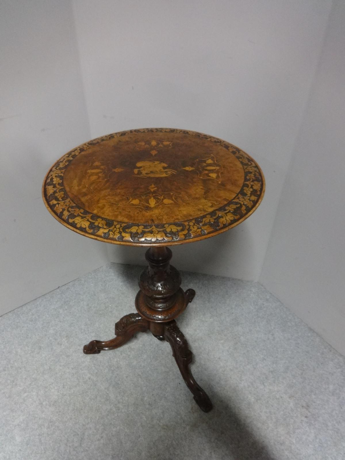 Burr Walnut Inlaid Pedestal Table c.1860 (1 of 1)