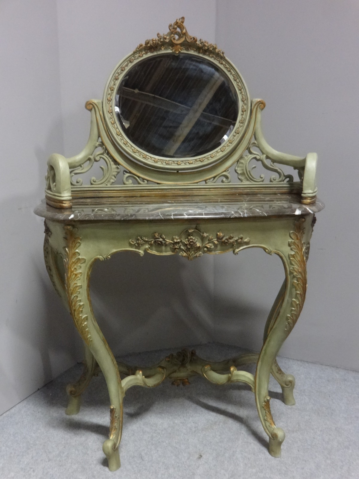 Very Pretty French Parcel Gilt and Painted Dressing Table (1 of 1)