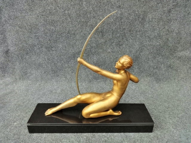 Art Deco figure signed 'Oudine' The Archer c.1930 (1 of 1)