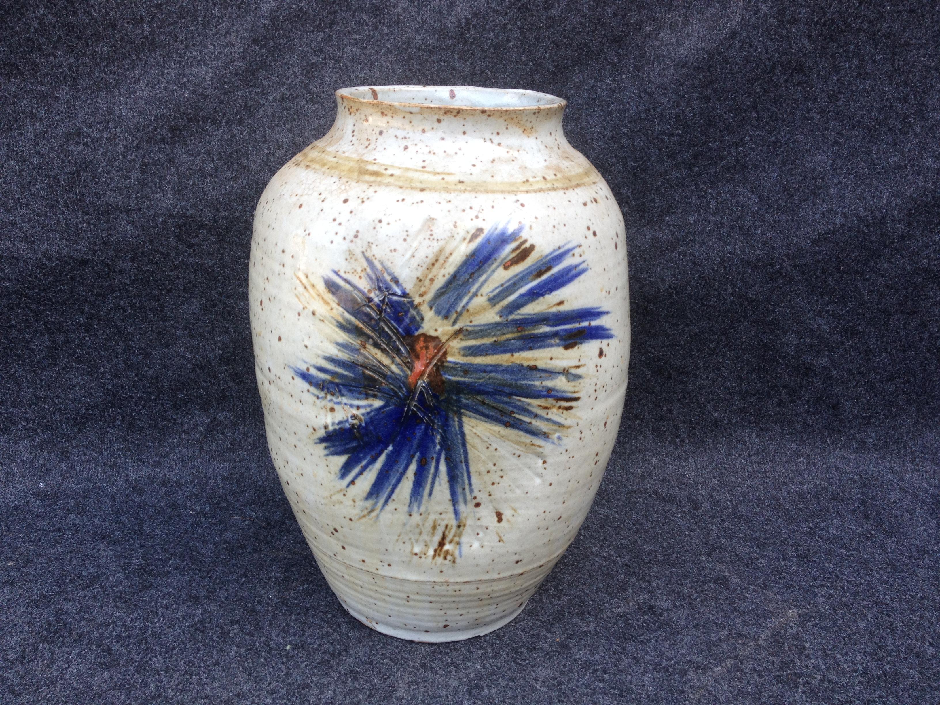 Large signed oval Studio pottery Vase (1 of 1)