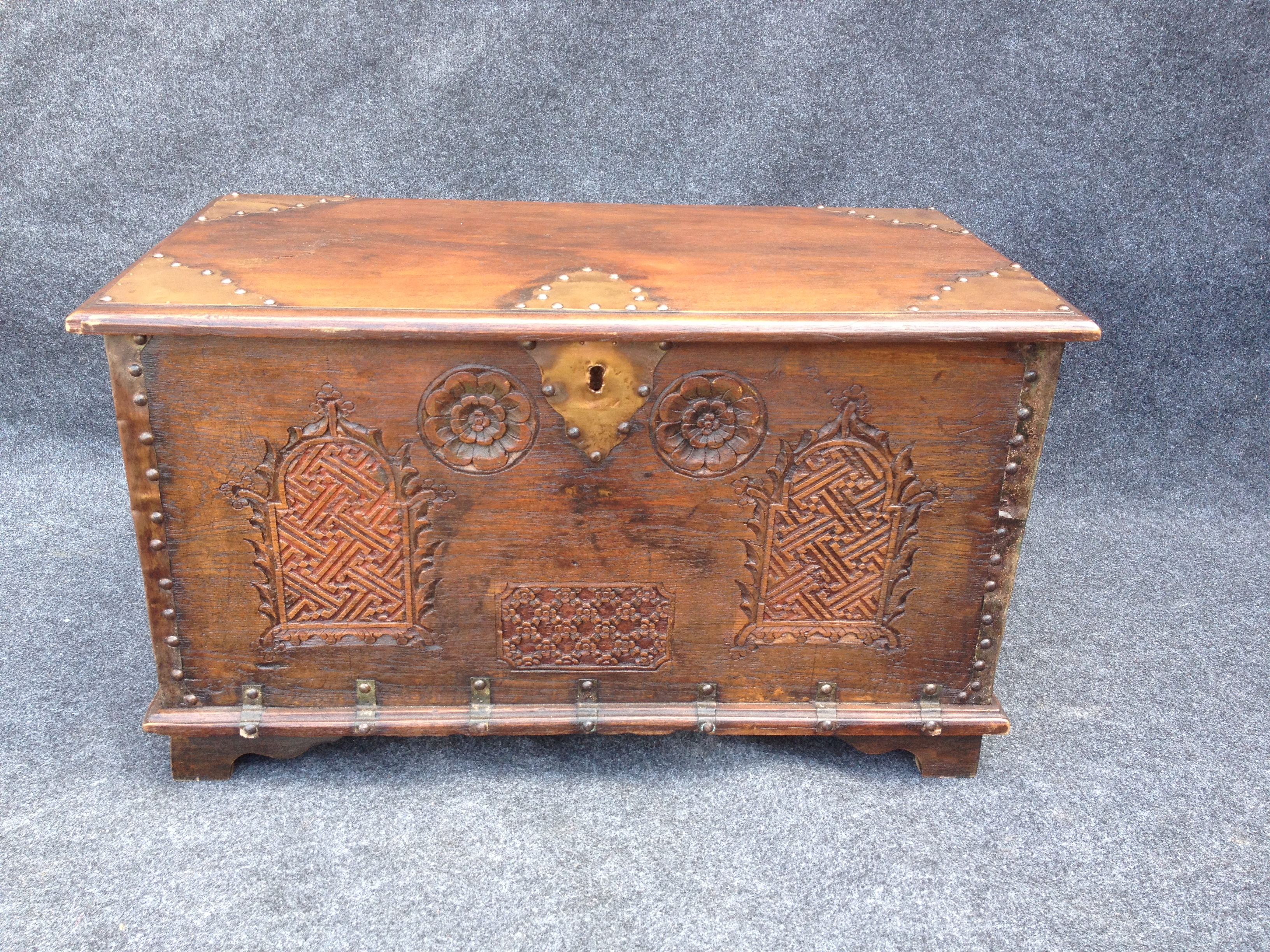 Small Copper banded Coffer. Mule Chest (1 of 1)