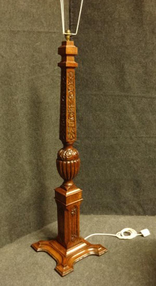 Good Carved Oak Standard Lamp c.1920 (1 of 1)