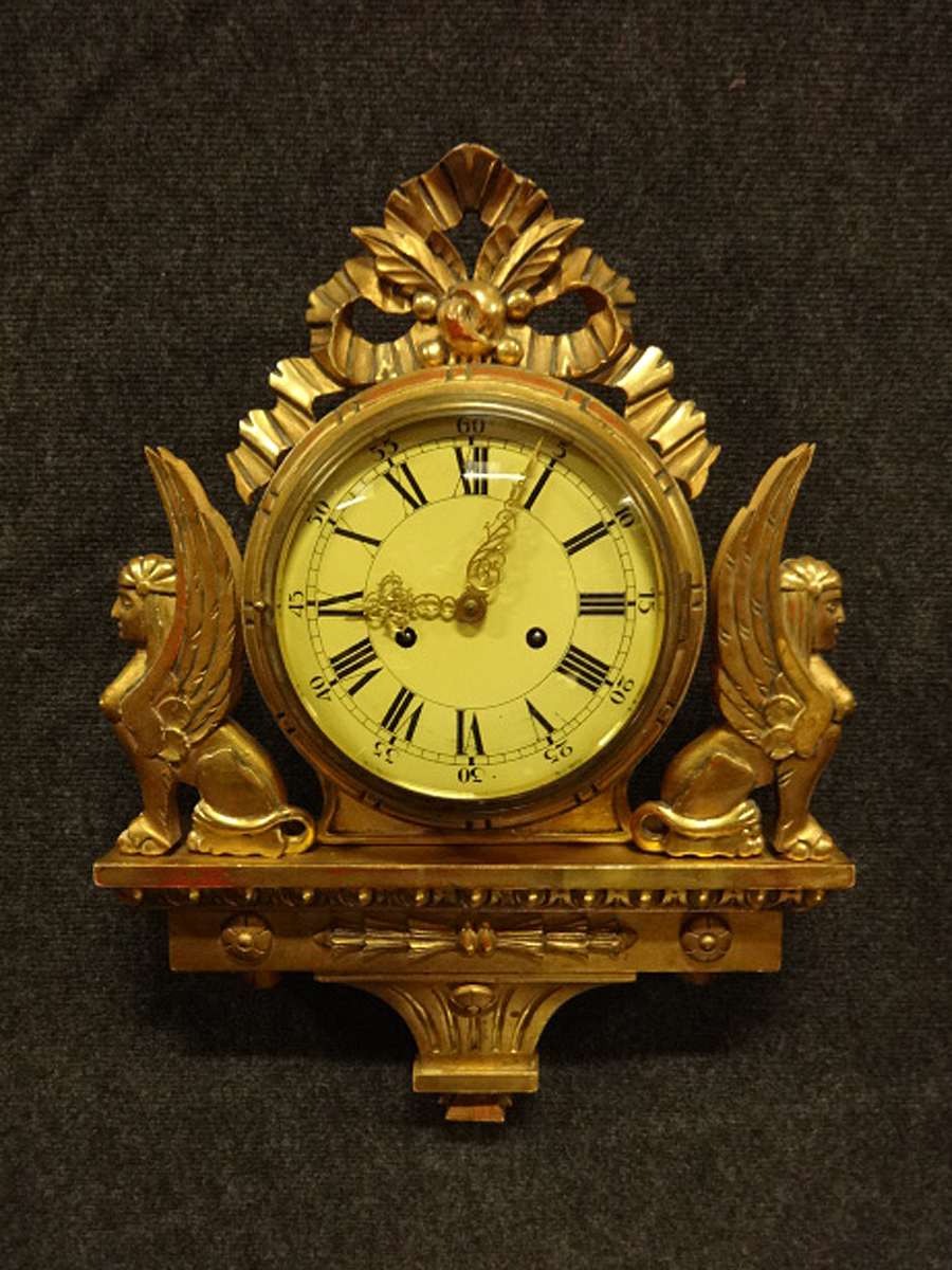 Very Pretty Gilt Chiming Wall Clock c.1910 (1 of 1)