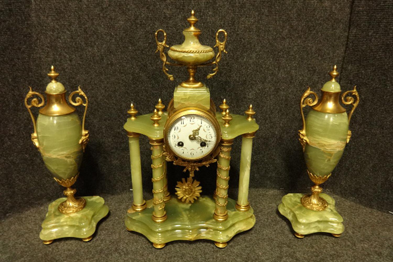 Stunning Onyx Clock Garniture c.1855 (1 of 1)