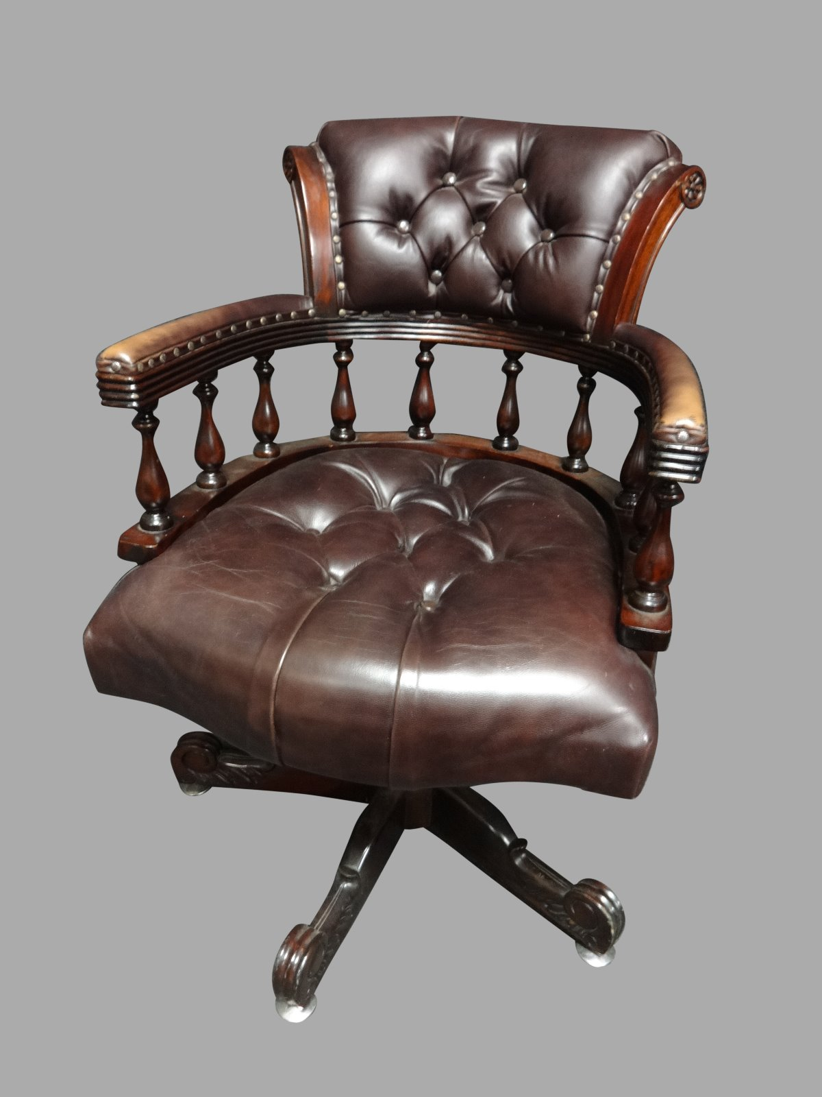Brown Leather & Mahogany Desk Chair c.1950 (1 of 1)