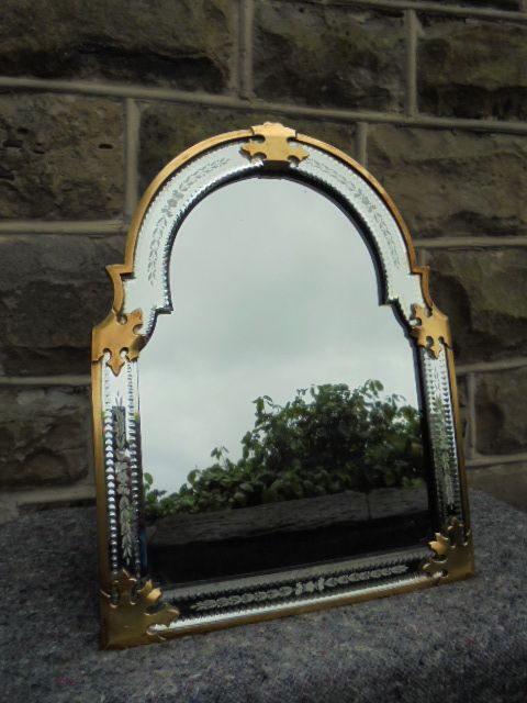 Antique Brass Frames Etched Glass Easel Mirror Dressing Table Mirror C 1880 Ykcb La34882 Loveantiques Com