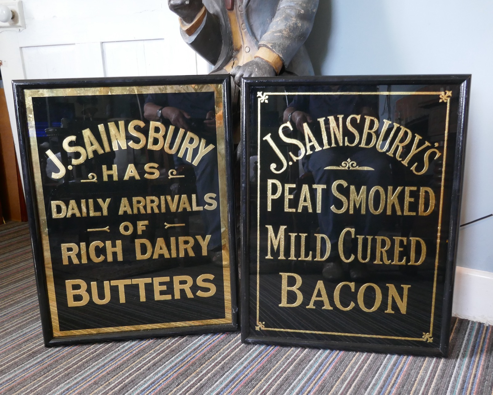 Art Deco J S Sainsbury S Bacon Advertising Mirror Sign In Black Gold Kw82 La109339 Loveantiques Com