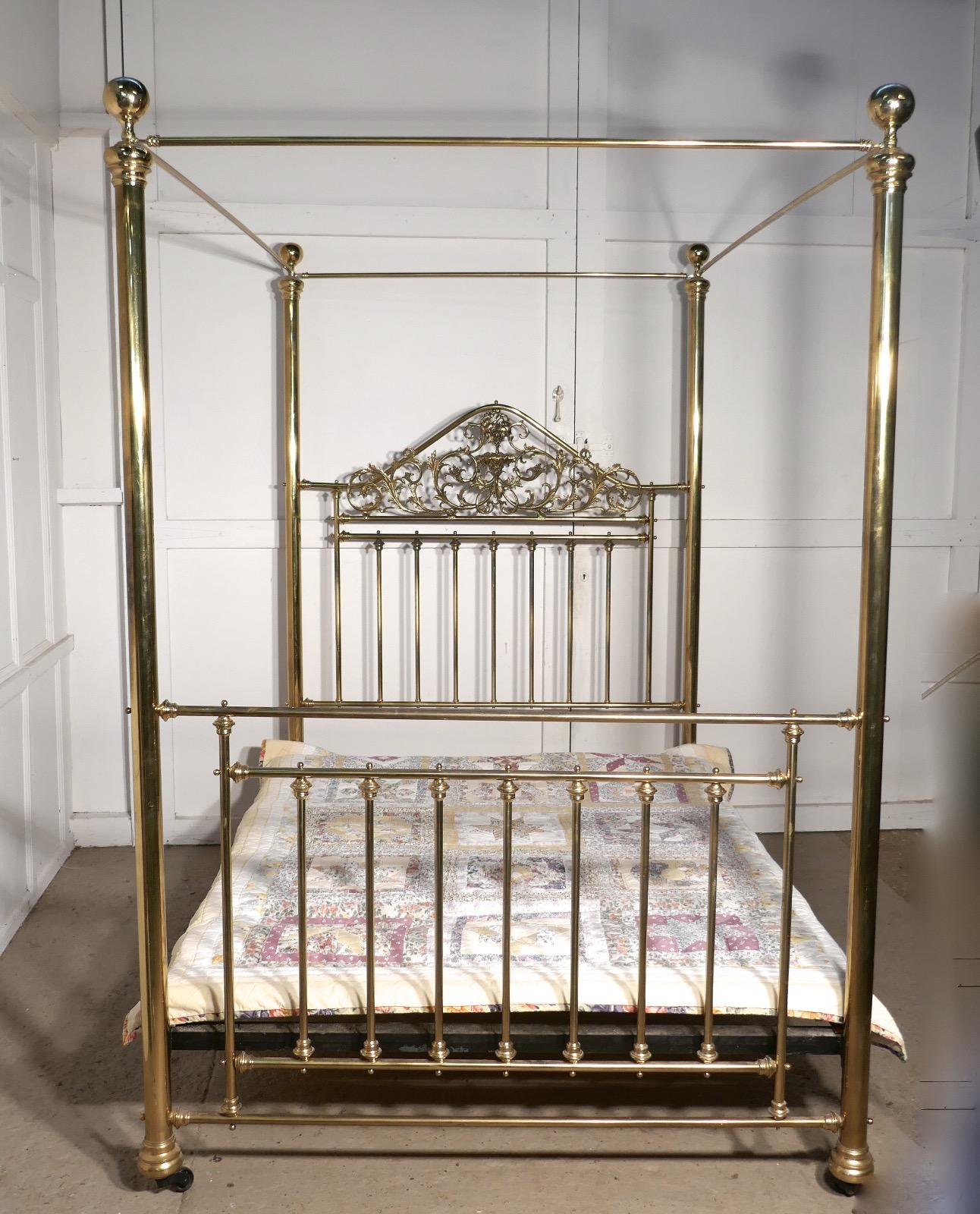 Victorian Art Nouveau 4 Poster Double Brass Bed Rb68 La52813 Loveantiques Com