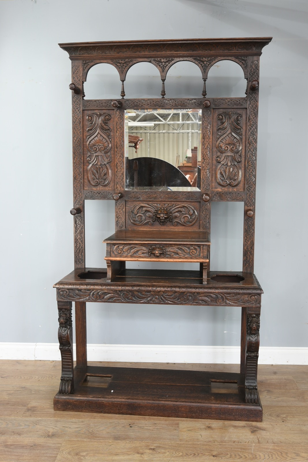 Carved Oak Hall Stand C.1880 (1 of 1)