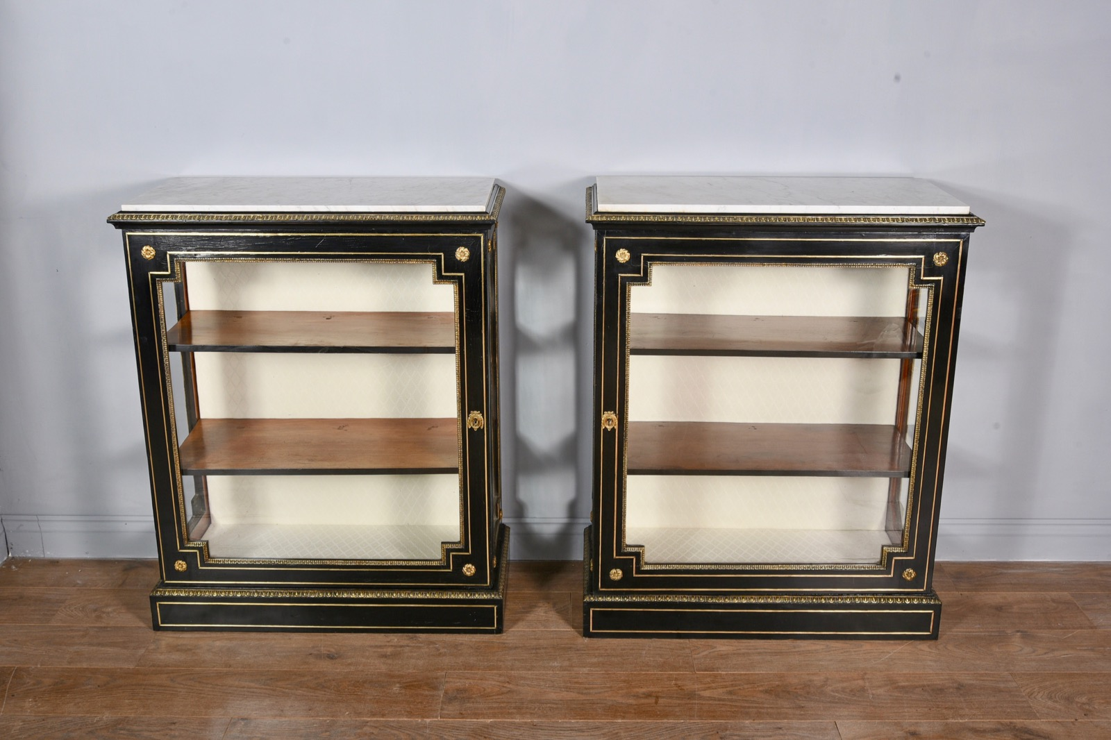 Pair of Victorian Brass Inlaid Pier Cabinet (1 of 1)