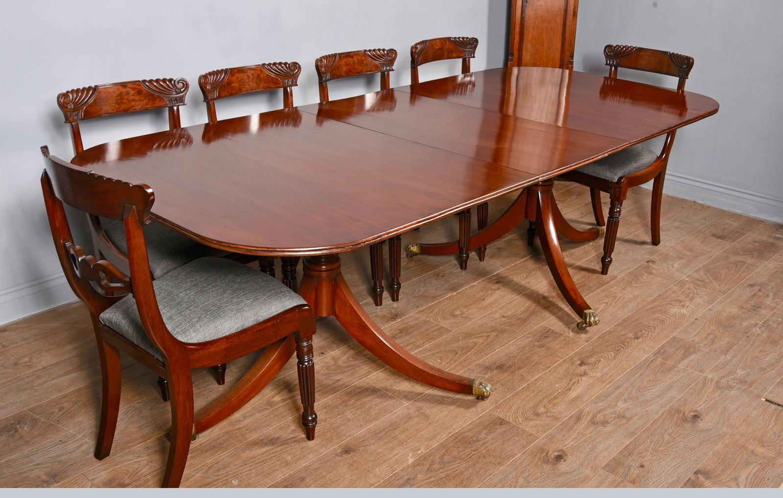 Regency Style Mahogany Twin Pillar Dining Table c.1910 (1 of 1)