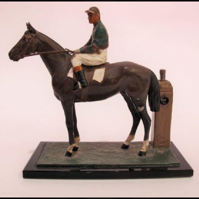 Spelter RAcehorse & Jockey Strike Lite Table Lighter (1 of 1)