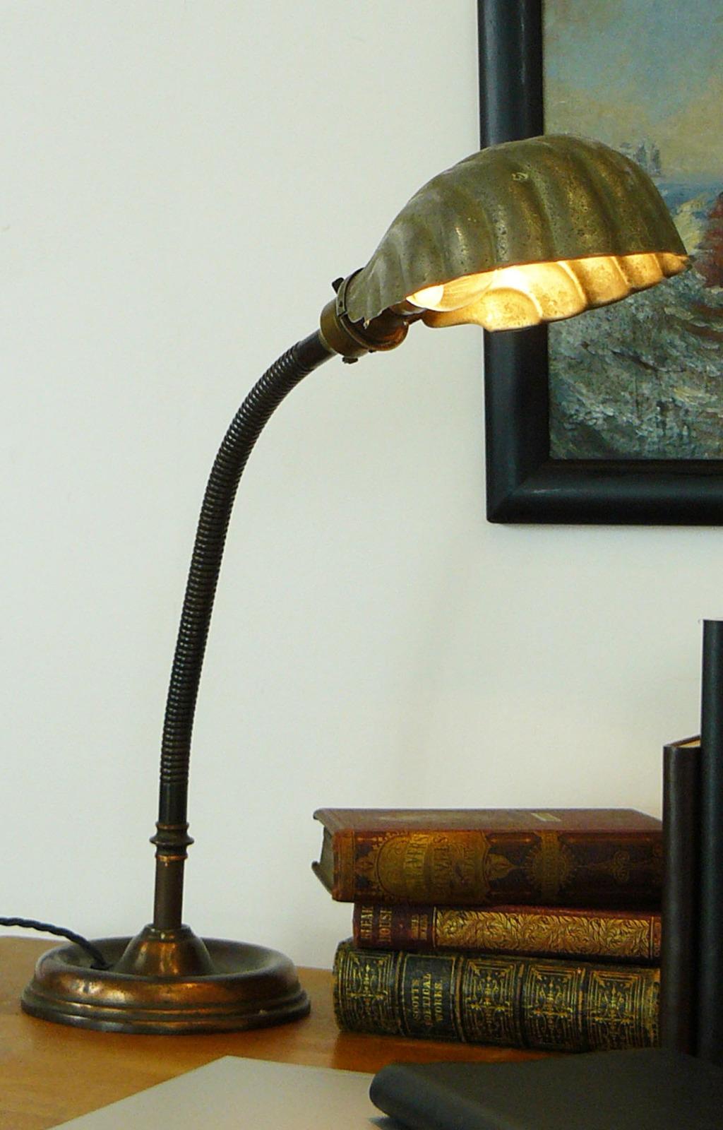 Antique Copper Based Goose Neck Shell Shade Desk Lamp C 1915 La192568 Loveantiques Com