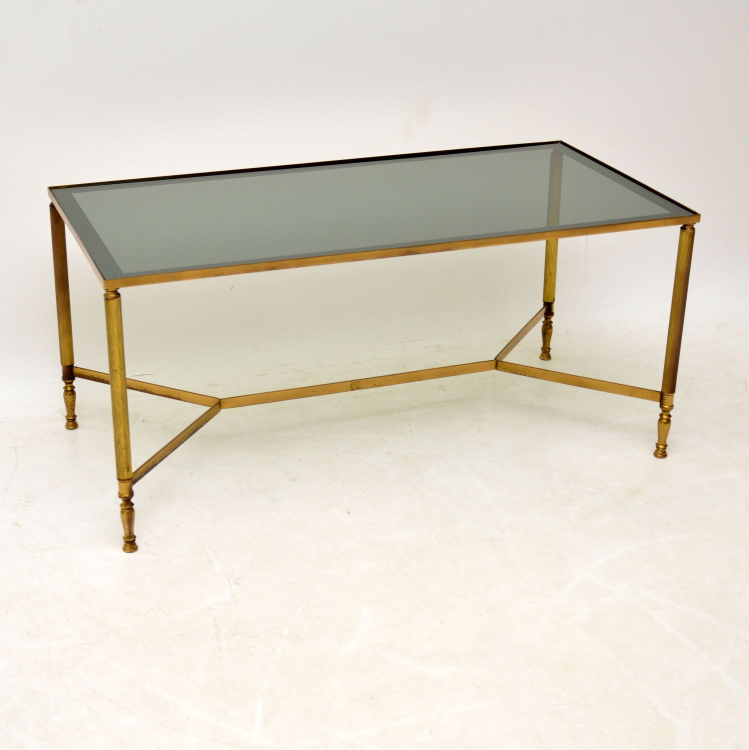 1950s Vintage French Brass Glass Coffee Table 956 La217898 Loveantiques Com