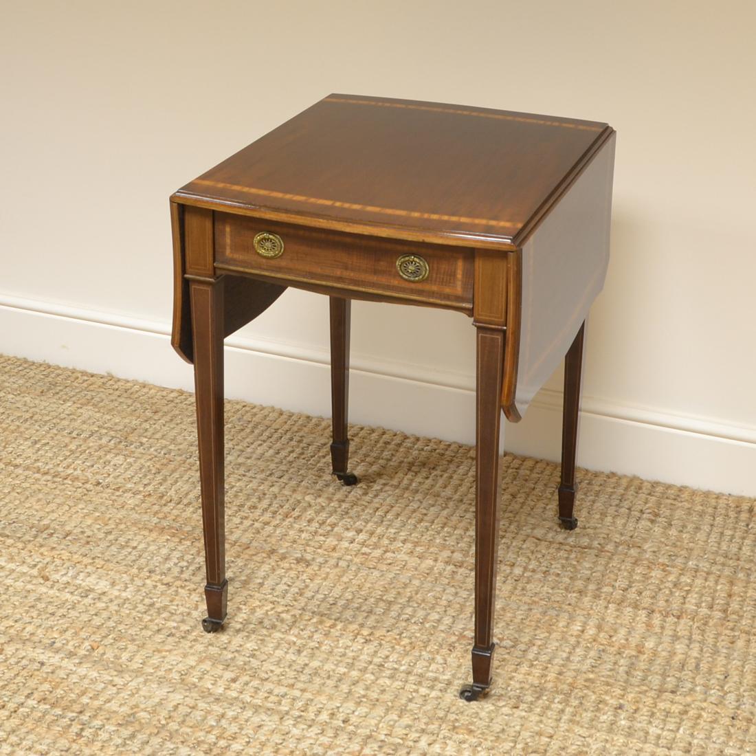 Stunning Quality Edwardian Mahogany Antique Drop Leaf Side Table 06310 La155315 Loveantiques Com