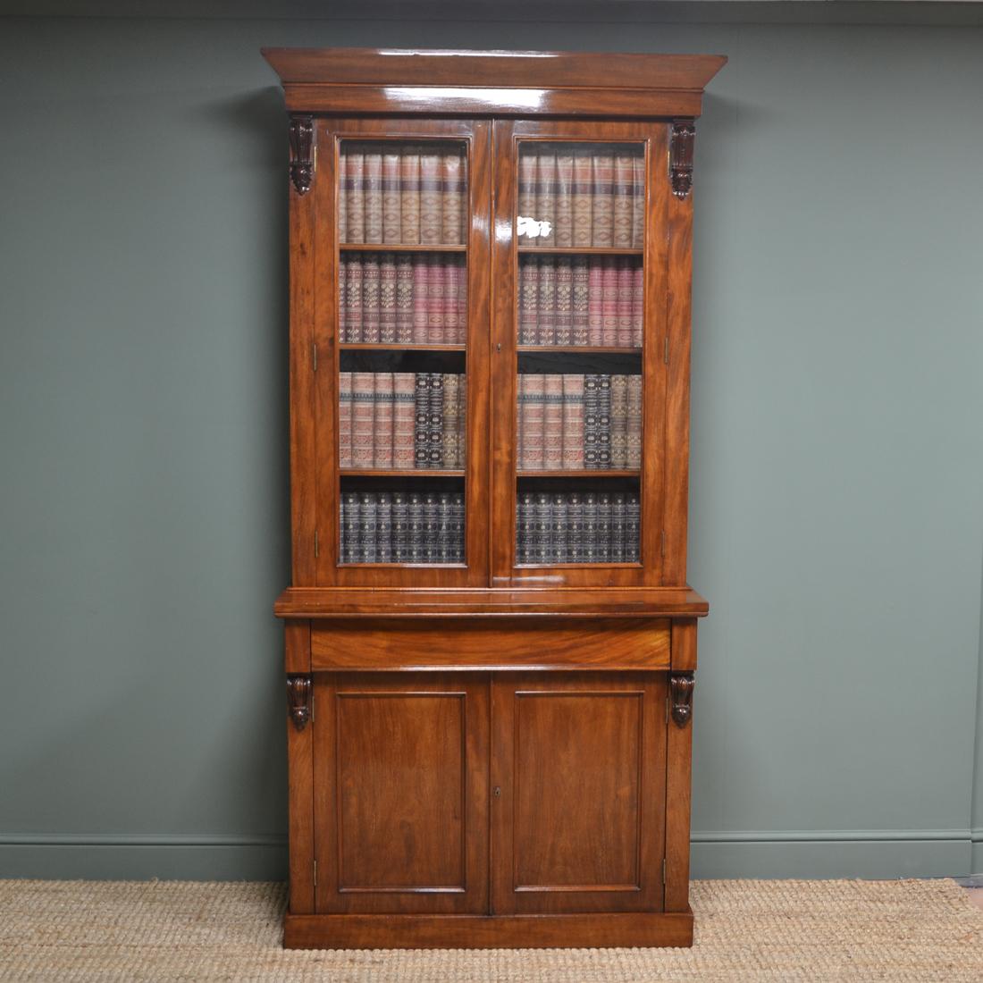 Striking Victorian Mahogany Antique Glazed Bookcase On Cupboard 07547 La195198 Loveantiques Com