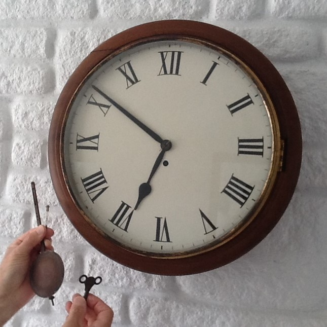 Fusee Wall Dial Clock C.1890 (1 of 1)