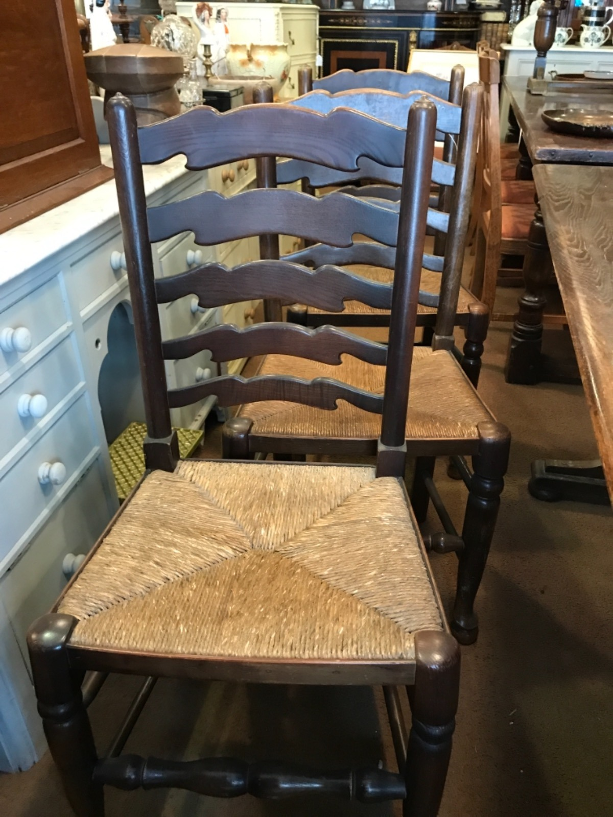 6 X Early 20th Century Ladderback Chairs (1 of 1)