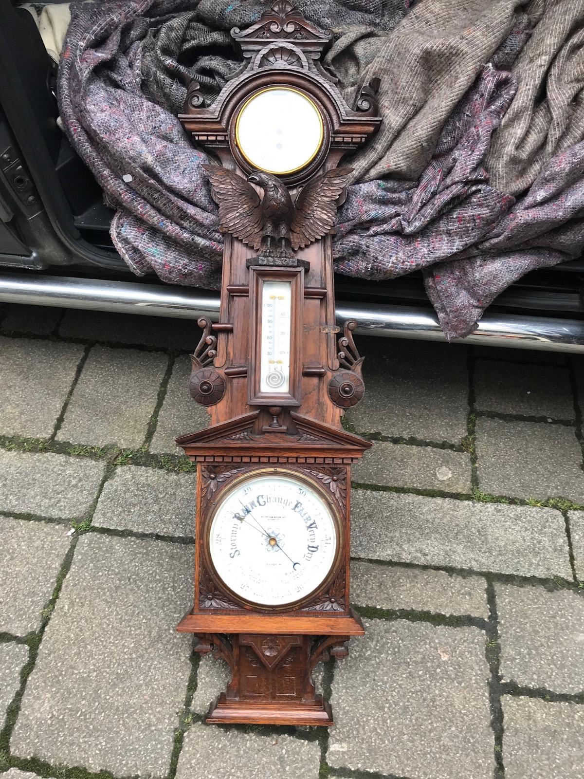 Unusual Carved Oak Combined Barometer (1 of 1)