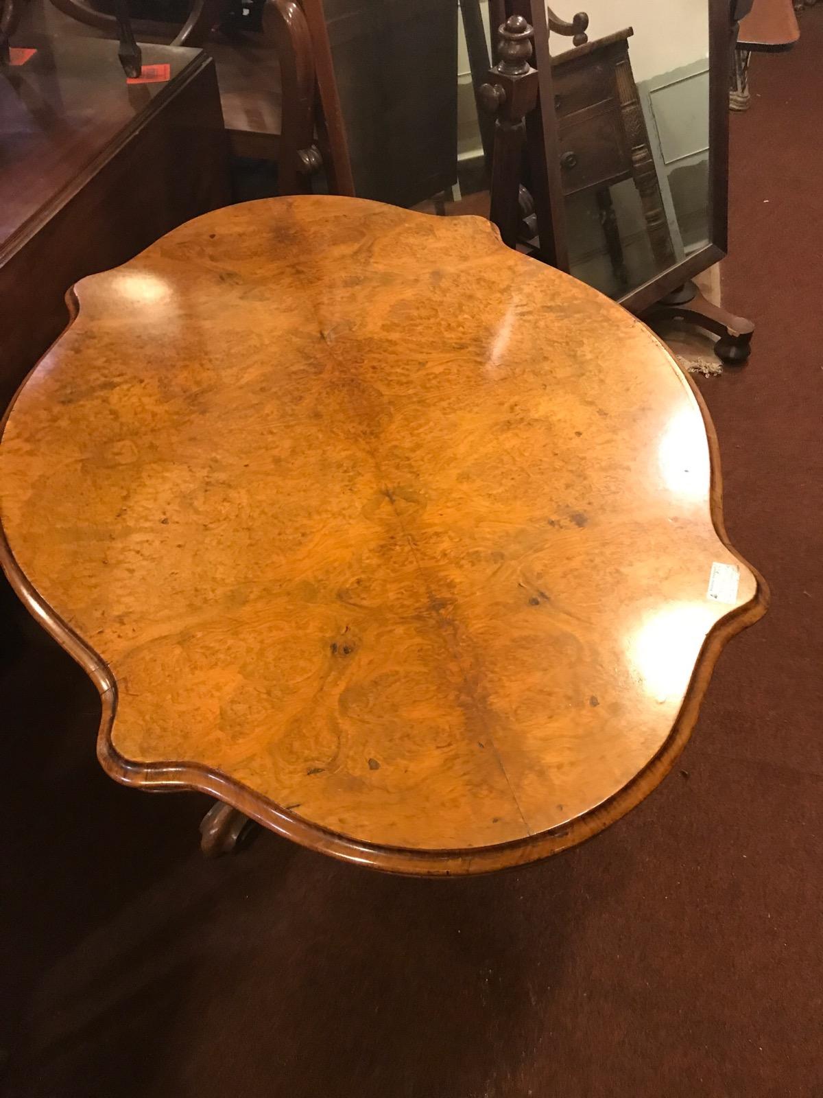 Burr Walnut Tripod Dining Table c.1860 (1 of 1)