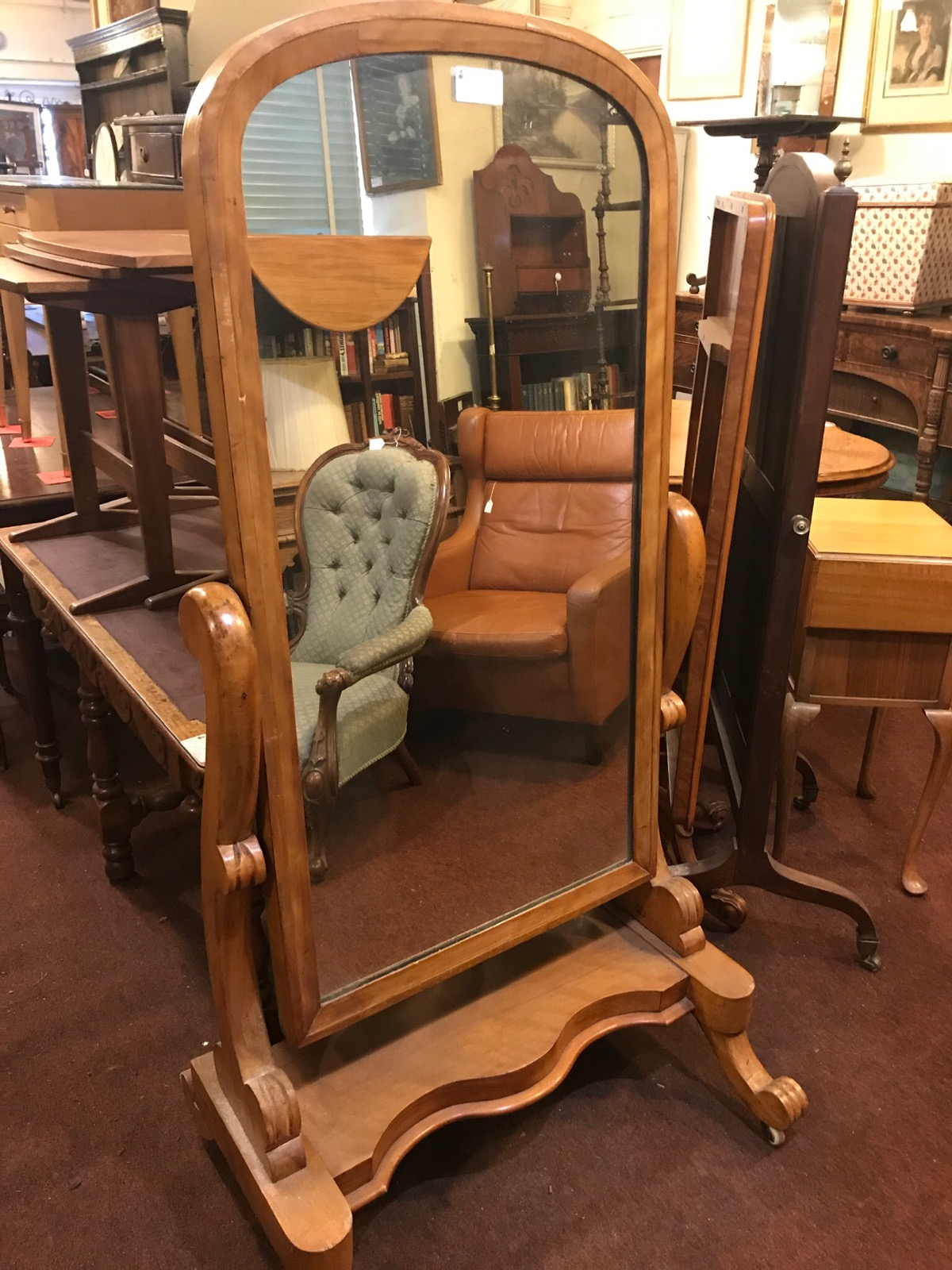 Pale Walnut Cheval Mirror c.1860 (1 of 1)