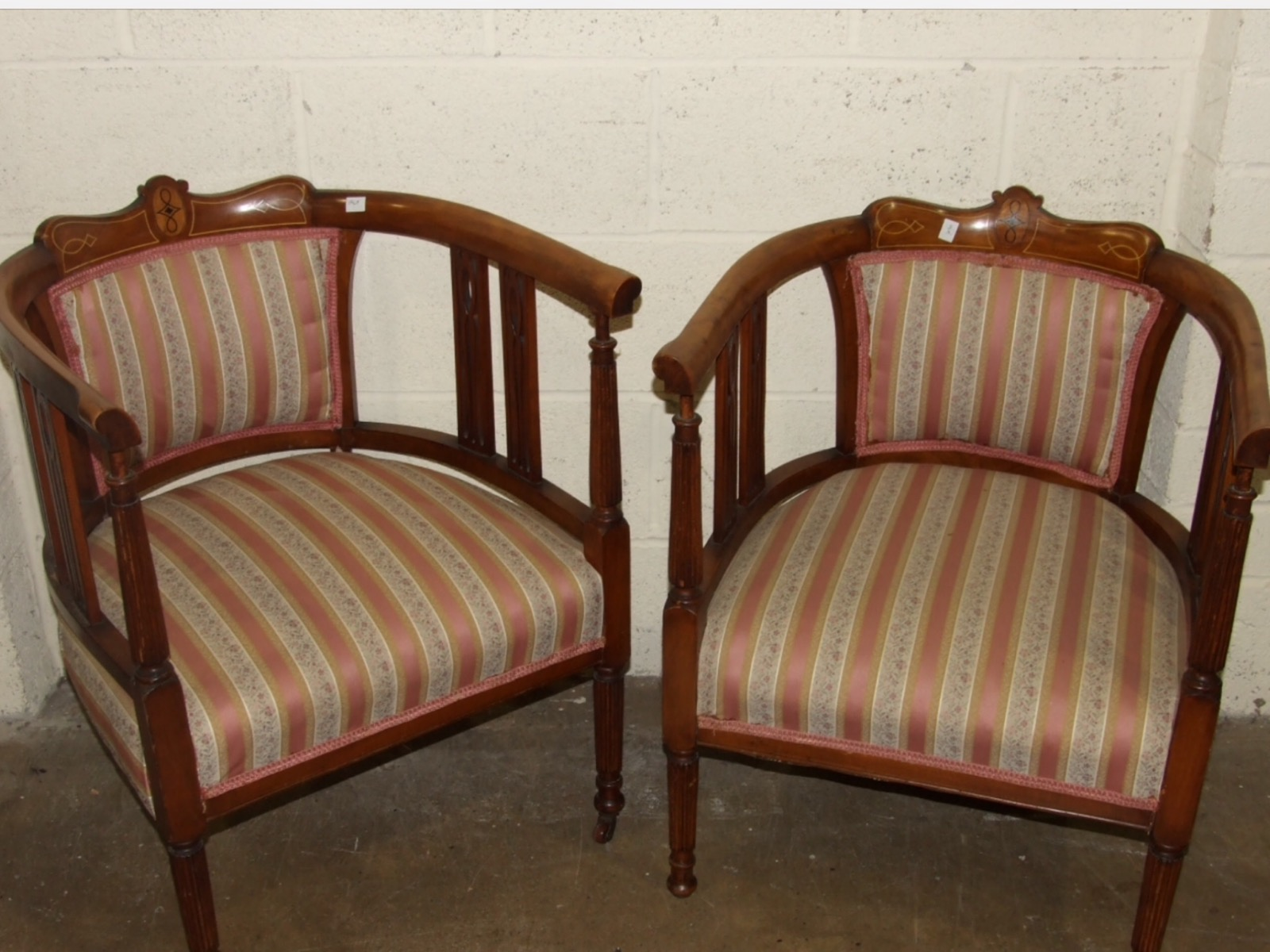 Pair of Inlaid Tub Armchairs (1 of 1)