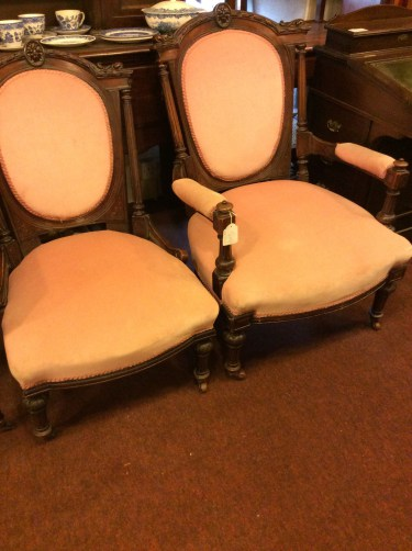 Antique Pair of Victorian Armchairs in Mahogany (1 of 1)