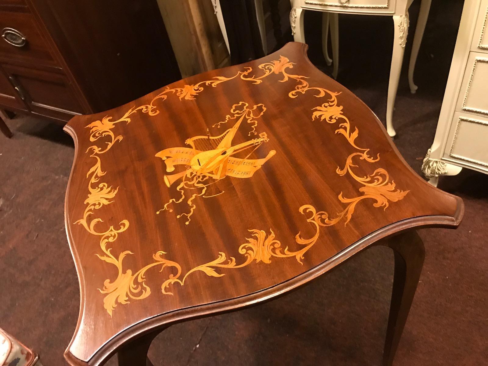 Music Satinwood Inlaid Mahogany Table (1 of 1)