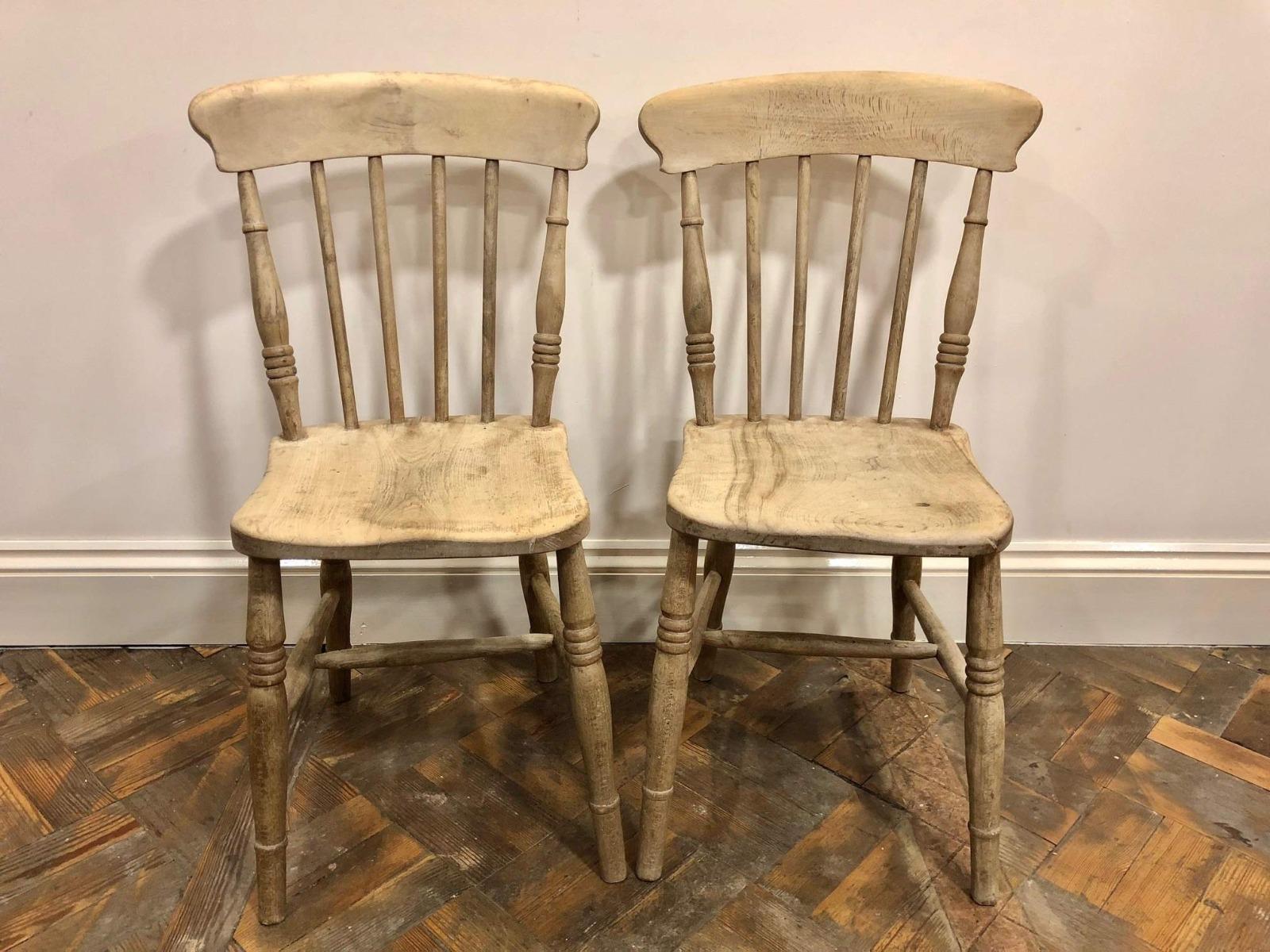 Pair of Stripped Pine Farmhouse Kitchen Chairs C.8 - B-8