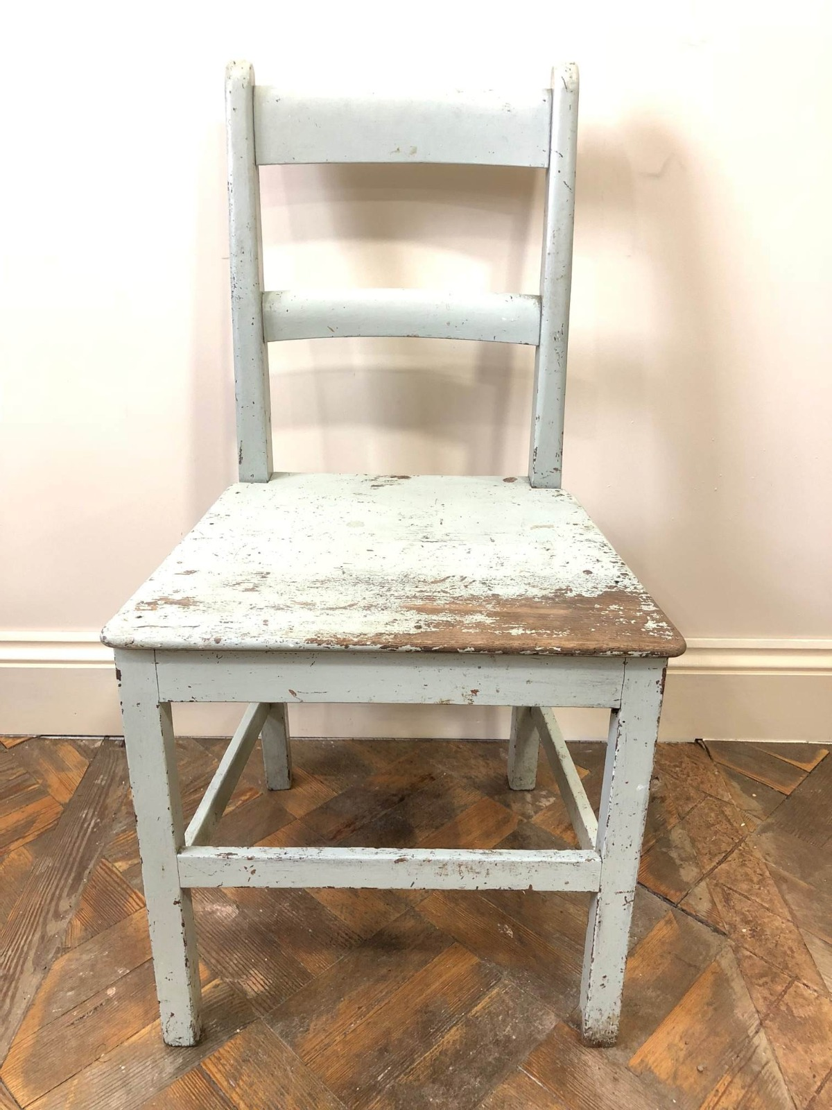 Distressed Pastel Green Painted Farmhouse Kitchen Chair - B-10