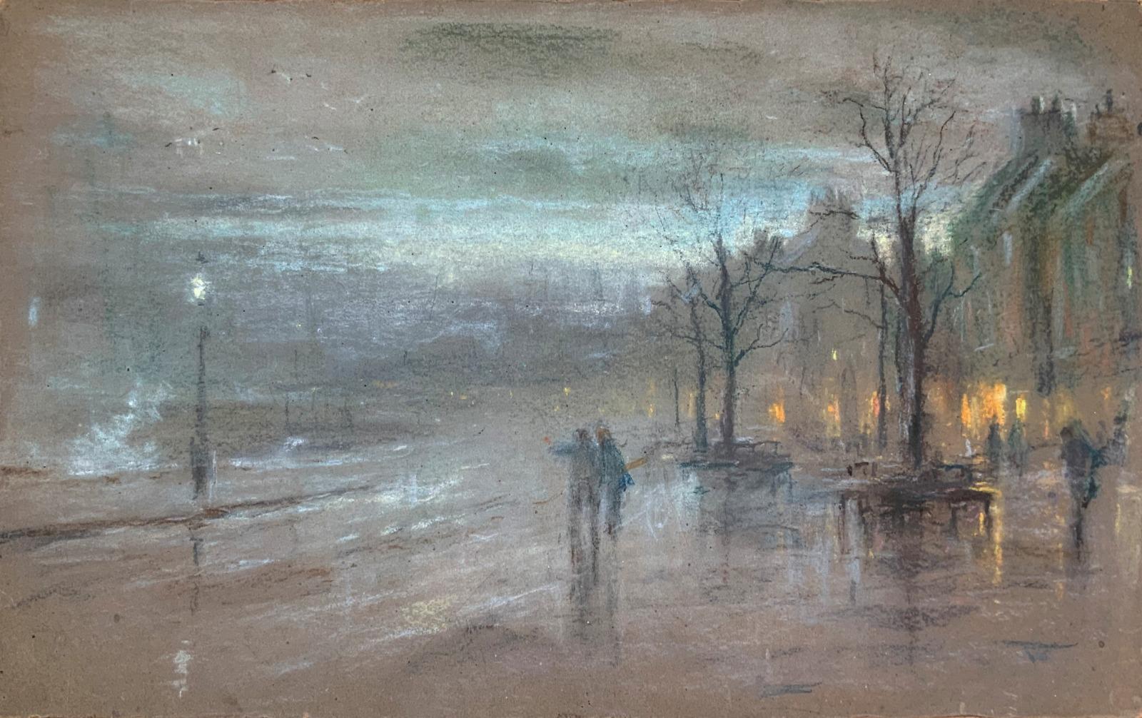 Robert Finlay Macintyre 19th century London Cityscape Pastel Painting