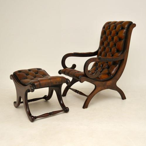 Regency Style Leather Armchair & Stool (1 of 14)