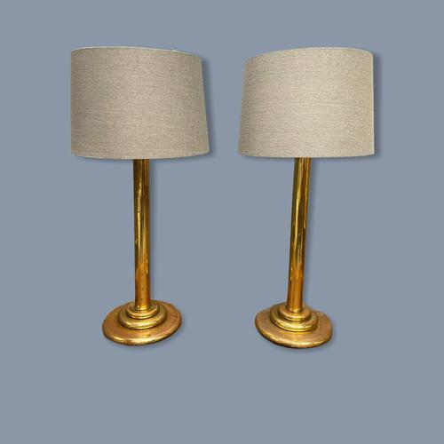 Very Large Pair of Brass Column Lamps (1 of 6)