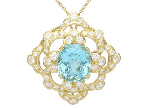 22.32ct Aquamarine, 7.62ct Diamond & 18ct Yellow Gold Pendant - Vintage c.1950 (1 of 9)