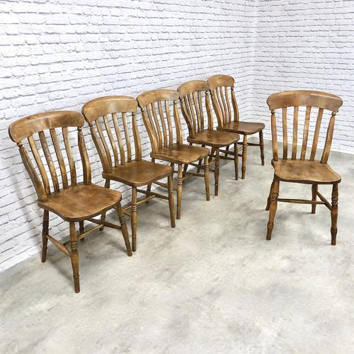 Matched Set of 6 Late Victorian Windsor Kitchen Chairs (1 of 5)