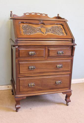Antique Mahogany Small Bureau Writing Desk (1 of 11)