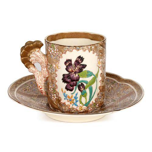 Zsolnay Pecs Hungarian Hand Painted Floral Cabinet Cup & Saucer c.1890 (1 of 16)